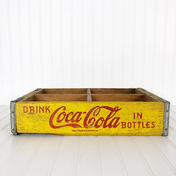 Coca-Cola Yellow 6-Pack Crate Vintage Style Wood Look Holiday Christmas Ornament